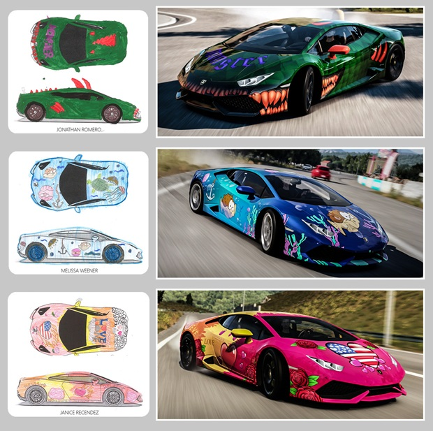 forza horizon 2 players can soon download lamborghinis painted by boys girls club members vg247. Black Bedroom Furniture Sets. Home Design Ideas