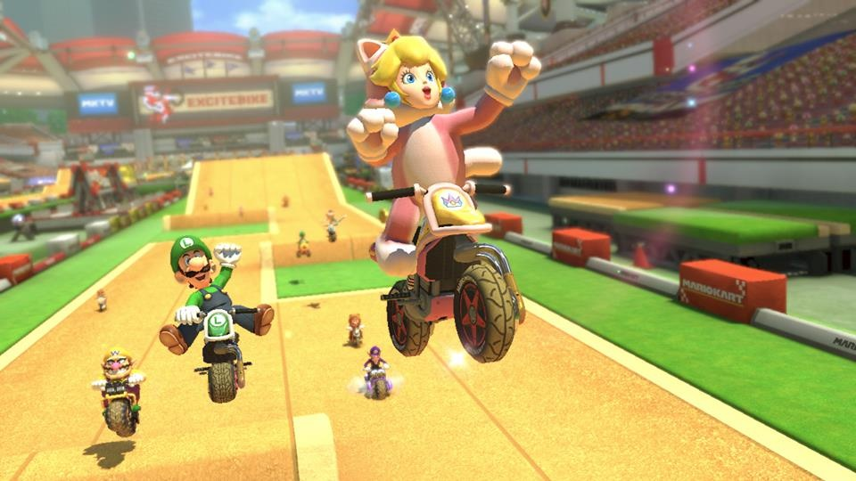 Have a look at the excitebike arena in mario kart 8 39 s first dlc vg247 - How do you get the master cycle zero ...