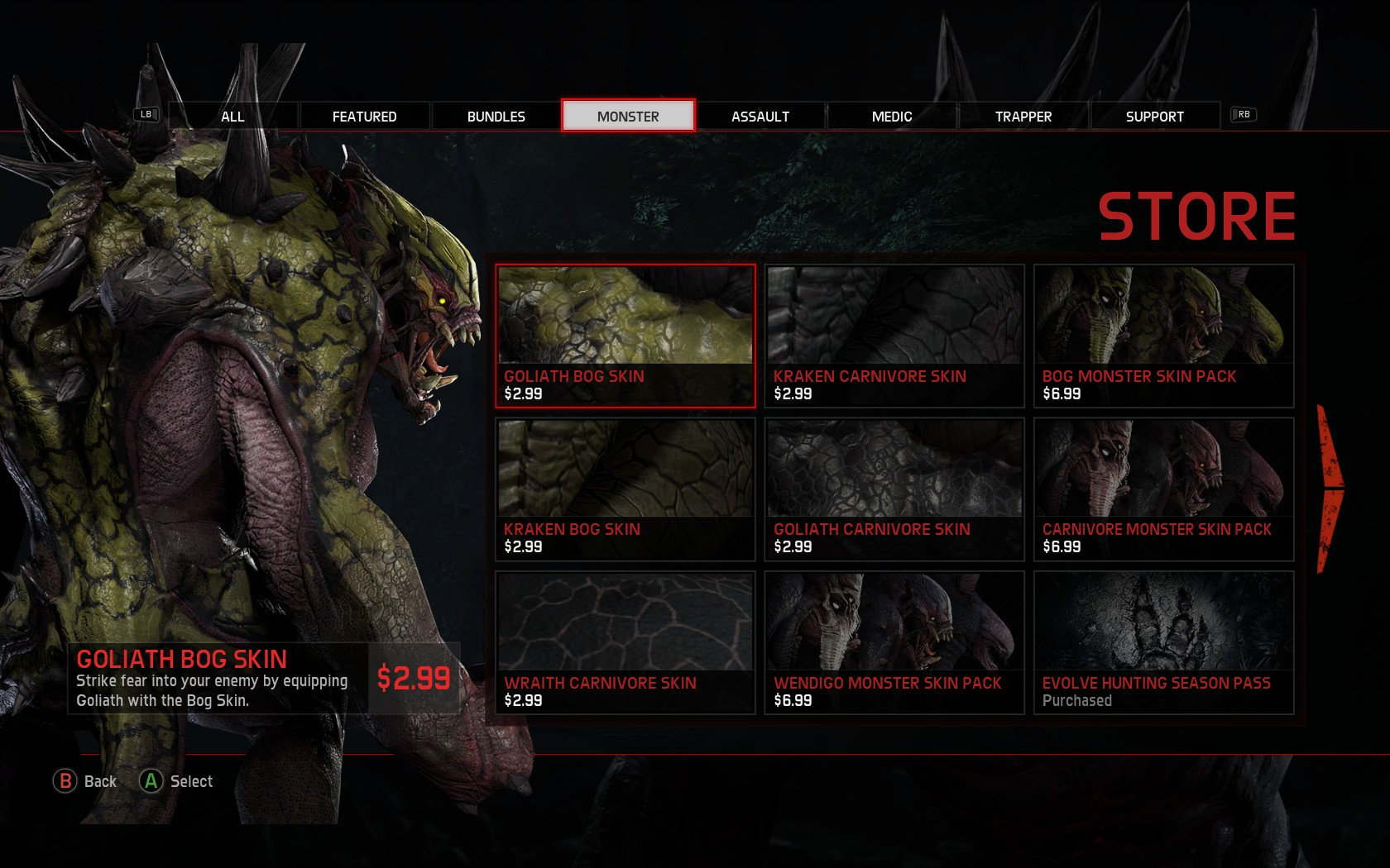 evolve   lot  paid skins  day  vg
