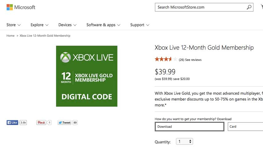 Xbox Live Gold 12 Month Sub 40 On Microsoft Store Vg247