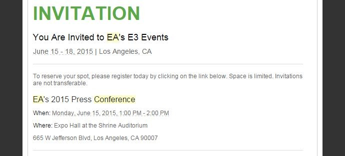 EA's annual E3 press conference takes place on June 15 | VG247