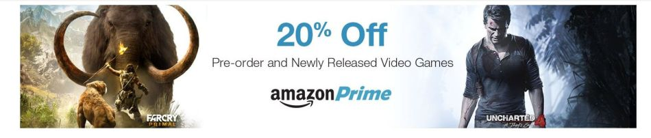amazon prime incentive knocks 20 off pre orders and new releases vg247. Black Bedroom Furniture Sets. Home Design Ideas
