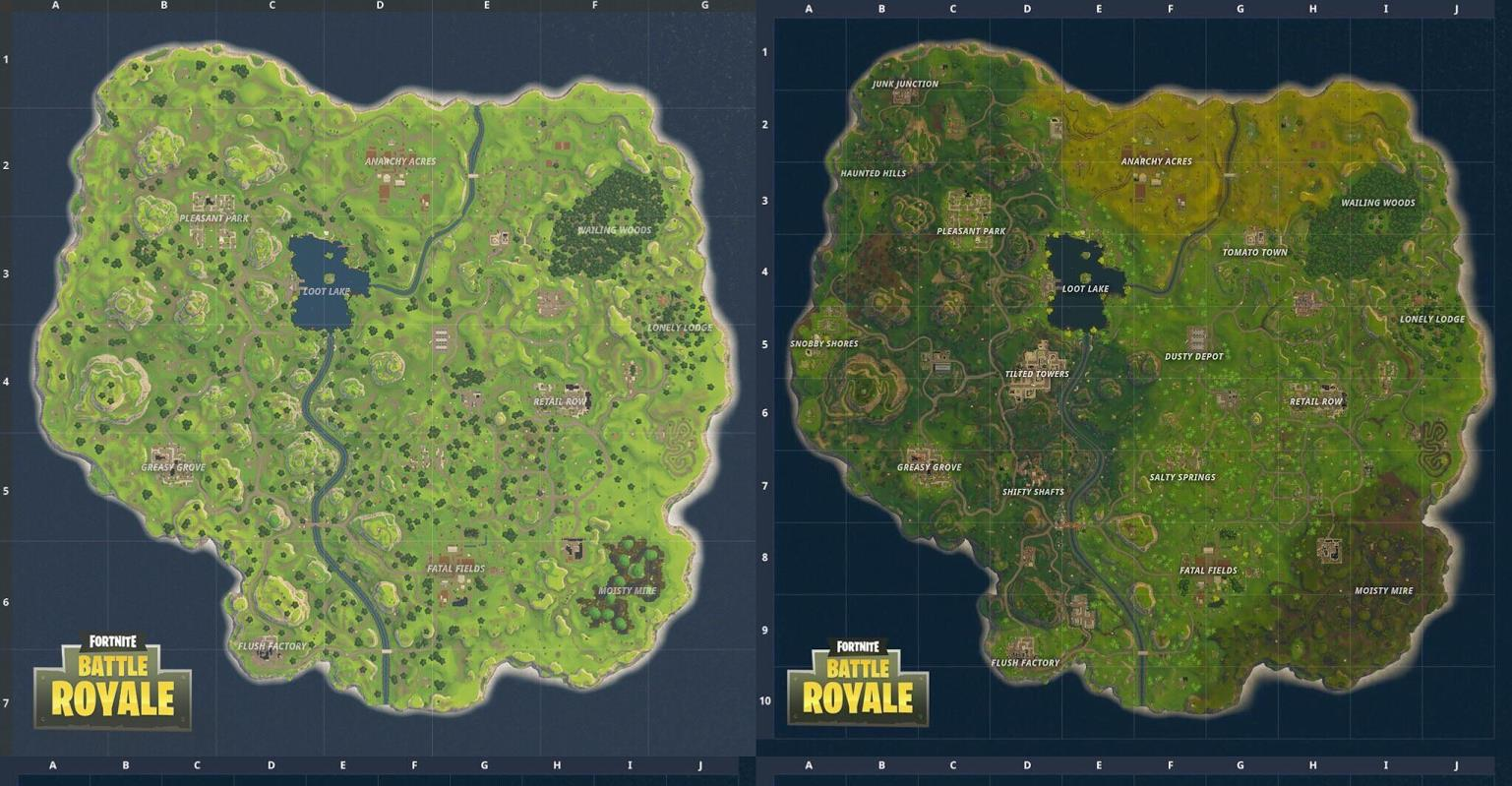 Fortnite: old map vs new map - where is the underground ...