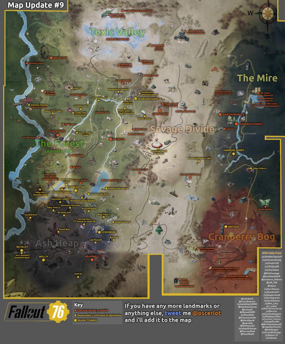 Filtrado Posible Mapa De Fallout 76 Y Sus Localizaciones