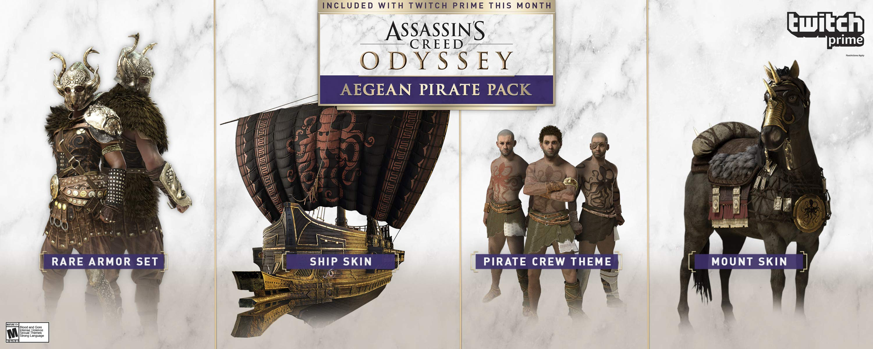 twitch prime assassin u2019s creed odyssey loot features a pirate ship skin and the atoll horse mount