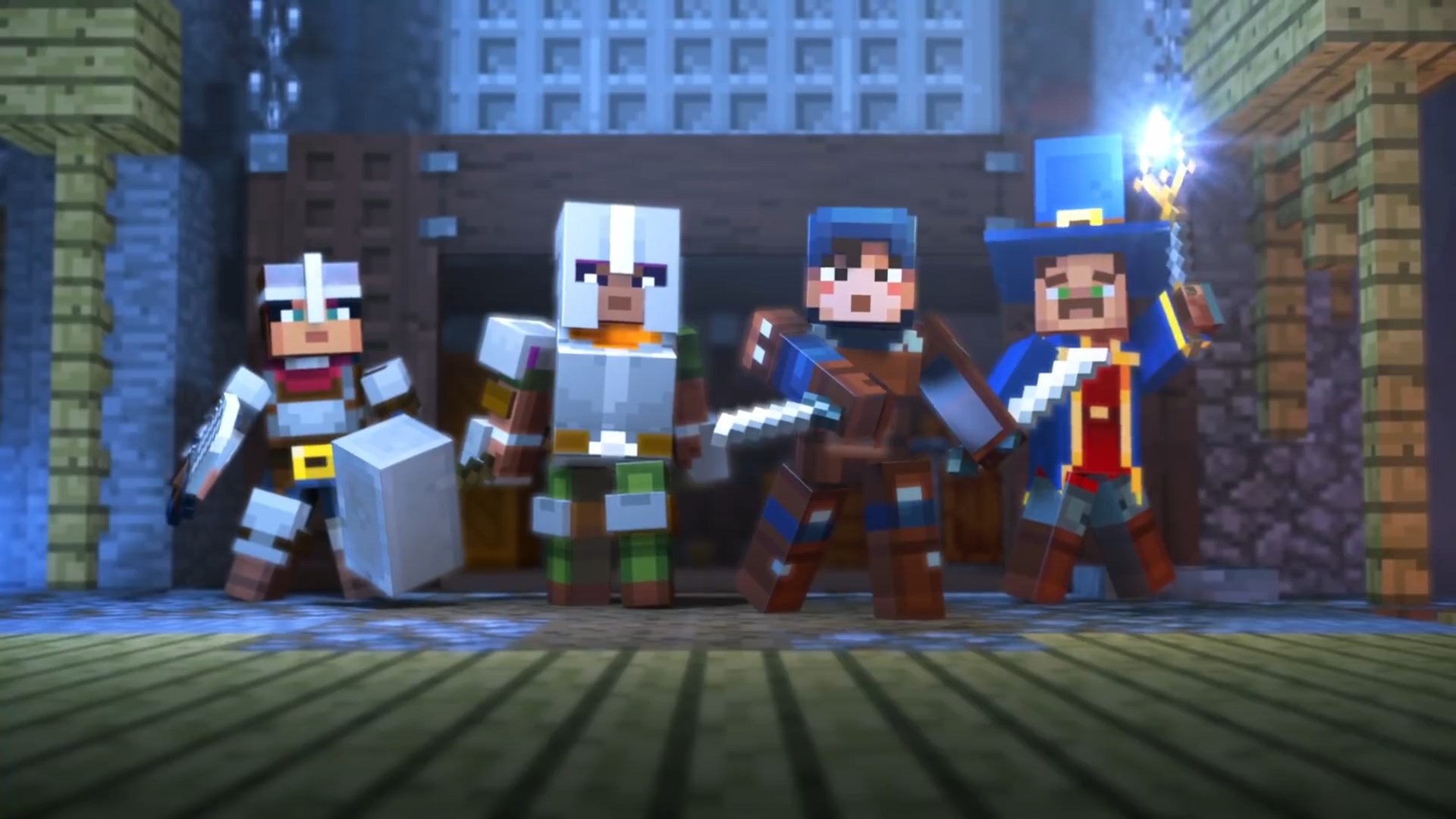 Break bosses with four friends in Minecraft Dungeons next