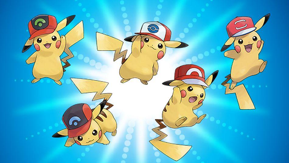 Get pikachu wearing five of ash s hats in pokemon ultra sun and ultra moon - Image pikachu ...